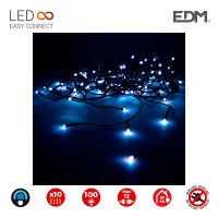 Cortina easy-connect 2x1m 10 tiras 100 leds azul 30v (interior-exterior) edm total 1,8w