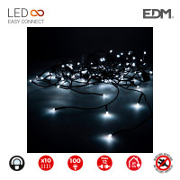 Cortina easy-connect 2x1m 10 tiras 100 leds blanco frio 30v (interior-exterior) edm total 1,8w
