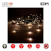Cortina easy-connect 2x1m 10 tiras 100 leds blanco calido 30v (interior-exterior) edm total 1,8w