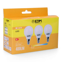 Kit 3 bombillas led esfericas 5w e14 3.200k luz calida edm