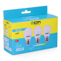 Kit 3 bombillas led esfericas 5w e27 6.400k luz fria edm